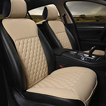 Black Panther 1 Pair Car Seat Covers, Luxury Car Protectors, Universal Anti-Slip Driver Seat Cover with Backrest,Diamond Pattern (Beige): image