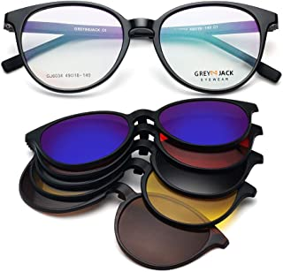 GREY JACK Round TR90 Spectacle Frame with 5Pcs Magnetic Polarized Lenses Clip On Sunglasses for Myopic Men Women 6034