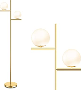Mid Century Floor Lamp - 2 Globe Modern Standing Lamp with Foot Pedal, Frosted Glass Stand Up Lights for Living Room, Bedroom