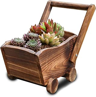 Haayward Carbonized Wooden Cart Trolley Flower Pot, Planter Succulent Potted Plants Container Home Bar Ornament Decor