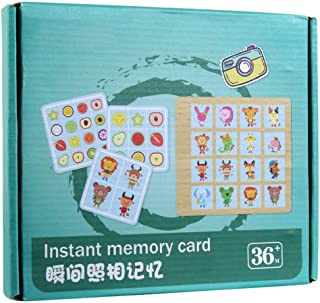 NUOBESTY Memory Game Cards Flash Cards Matching Game Instant Memory Card Toy Logical Train Toys Educational Toys for Kids ...