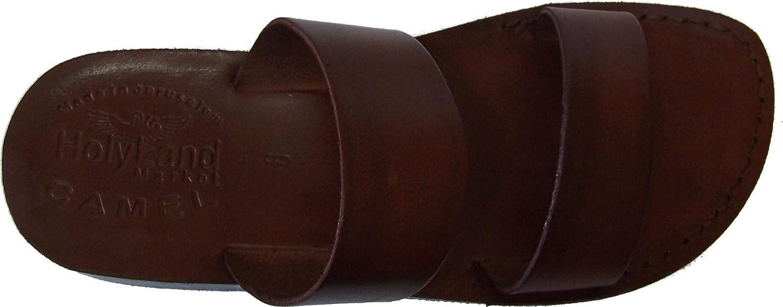 Holy Land Market Unisex Leather Flip Flops (Jesus - Yashua) The Good Shepherd Style I