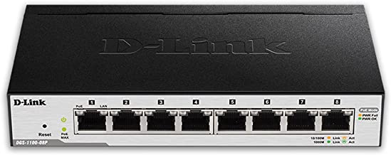 D-Link PoE Switch, 8 Port Smart Managed Gigabit Ethernet Layer 2 VLAN Control Network Internet Desktop (DGS-1100-08P)