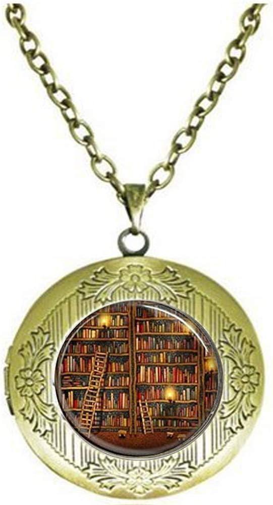 High order Library Book Necklace Virginia Beach Mall Glass Dome Nec Locket Pendant Art Dinosaur