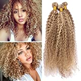 Light Brown with Blonde Highlights Piano Hair Weave Color 27 613 Human Hair Bundles Kinkys Curly Honey Blonde Brazilian Hair Extensions 300g Mixed Length (20 22 24 Inch)