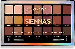 Profusion Cosmetics 21 Shade Eyeshadow Palette Collection & Brush, Siennas