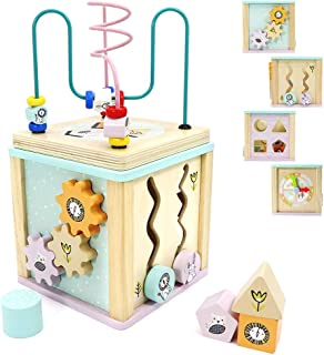 Scootive Activity Cube Baby Educational Wooden Toys,5 in 1 Activity Center Including Bead Maze,Abacus,Clock,Spinning Gears for Toddles,Boys and Girls Birthday Gifts