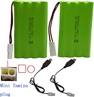 Blomiky 2 Pack 9.6V 800mAH Ni-Cd AA Battery Pack with Mini Tamiya Connector Plug and Charger Cable for 15MPH RC Truck D181 New Battery 2