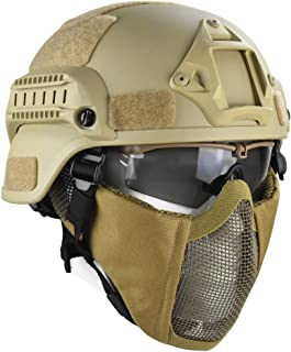 Jadedragon MICH 2000 Style ACH Tactical Helmet with Protect Ear Foldable Double Straps Half Face Mesh Mask & Goggle