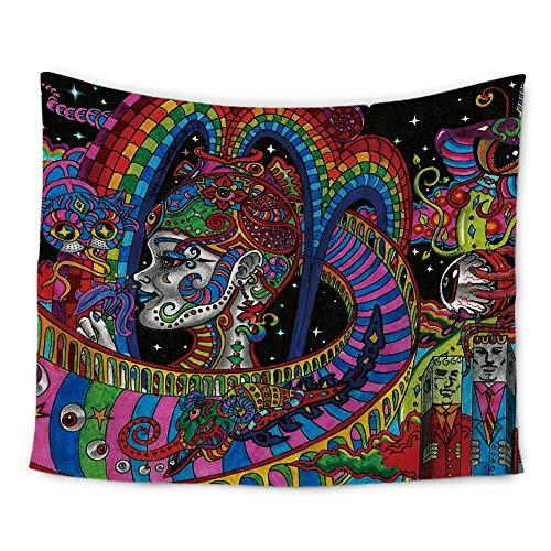 Amknn Tapisserie, psychedelisch, indisches Mandala, Boho, Sonne Mond, Wandbehang, Hippie, Wandteppich, Stil 5 Wandteppich, 150x130
