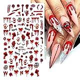 Blood Nail Art Stickers Halloween Nail Sticker Decals, 4 Sheets Self Adhesive Nail Stickers 3D Nail Art Supplies Halloween Blood Scar Clown Snake Eye Heart Nail Designs for Women Girls Acrylic Nails
