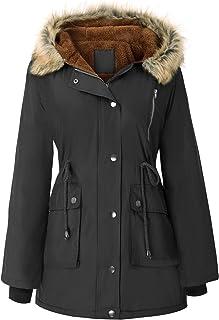 Womens Hooded Fleece Line Coats Parkas Faux Fur Jackets...