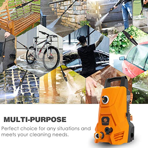 Electric Pressure Washer, Portable High Power Washer Machine 2000 Max PSI 1.32 GPM with 2 Nozzles, High Pressure Hoses, Detergent Tank, for Cleaning Homes, Cars, Decks, Driveways, Patios