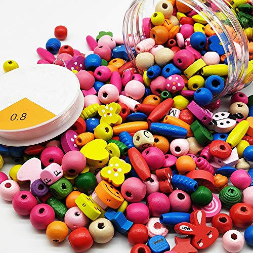 Assorted Color Wood Beads Cartoon Wooden Spacer Beads for DIY Jewelry Making Handmade Craft Children's Gift, a Can of 400 Pcs