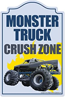 Monster Truck Crush Zone Novelty Sign | Indoor/Outdoor | Funny Home Décor for Garages, Living Rooms, Bedroom, Offices | SignMission Wall Gag Gift Sign Wall Plaque Decoration