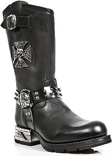 New Rock MR030-S1 Boots Couleur Noir pour Hommes Cuir Naturel Style Western Cowboy Rock Motard