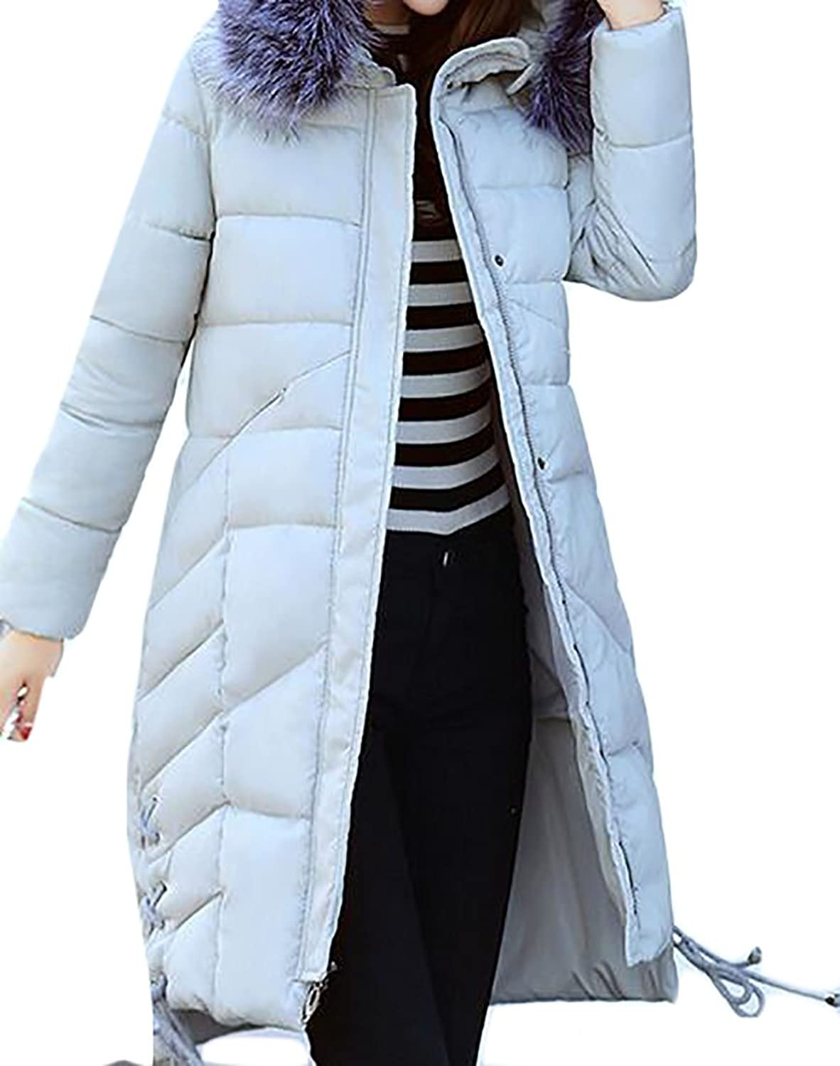 Oberora Women's Winter FauxFur Collar Tie Thick Padded Down Jackets Parka Coat