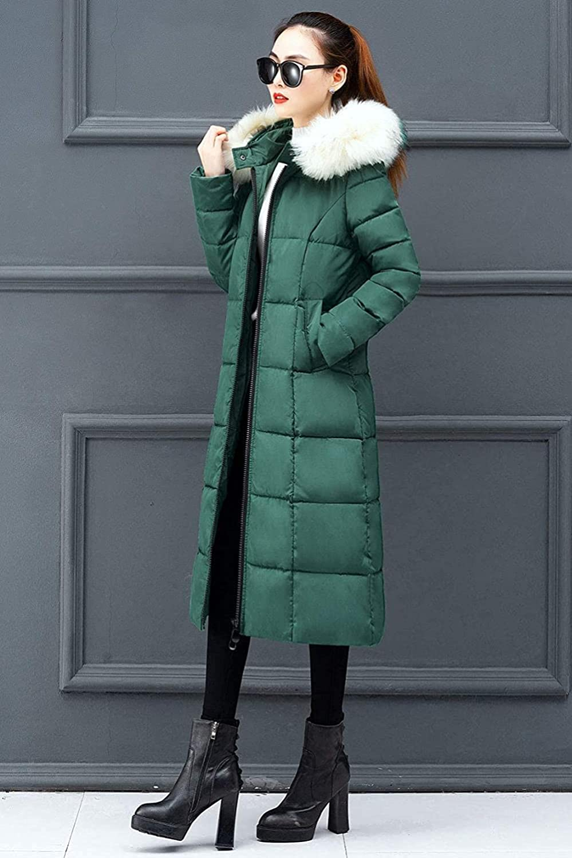 Women's Winter Thicken Down Alternative Long Puffer Coat with Faux Fur Hood