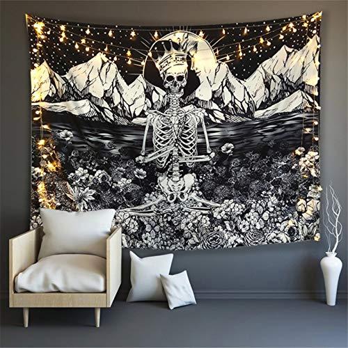 N/A Impresión 3D de tapices Rey Calavera Meditando en Flores Tapiz de Luna Mandala Alfombra Hippie Tarot GatoManta de Pared Dormitorio decoración Pared 130 CM X 150 CM