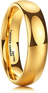 King Will Glory Men`s 4mm 6mm 8mm Tungsten Carbide Ring 24k Gold Plated Domed Polished Finish Wedding Band