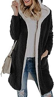 haoricu Women's Long Cardigan Ladies Winter Warm Fleece Hooded with Pockets Coat Girl Long Cloak