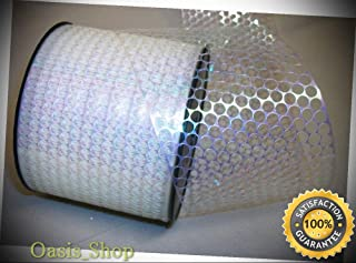10 Yrds. Honey Comb White Iridescent Plastic Ribbon 3 1/4
