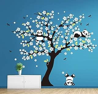 Mix Decor Tree Wall Decal - Cute Panda Flowers Tree Wall Stickers for Kids Baby Nursery Room Wall Decor Wallpaper Art Home DIY Decoration 86.6x70.9,White