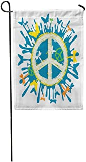 zhurunshangmaoGYS Garden Flag Blue Sign Hippie Peace Symbol Colorful Butterfly Love Sketchy Abstract Home Yard House Decor Barnner Outdoor Stand 12x18 Inches Flag
