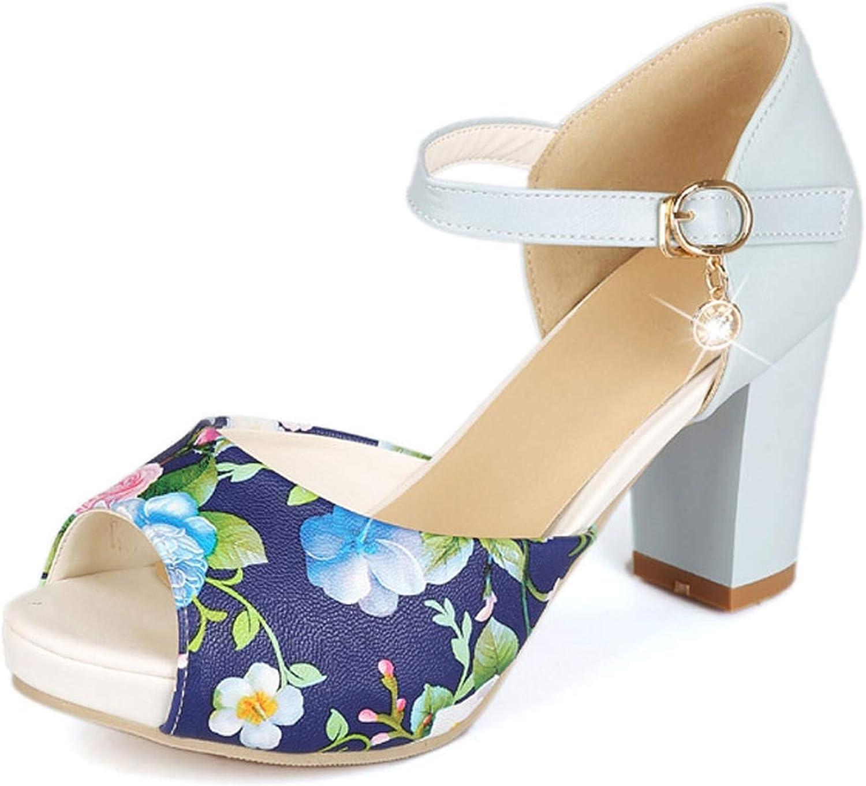 Women Sandals Platform shoes Open Toe Woman Sandals Summer Printed Chunky High Heels Party Dress Sandals
