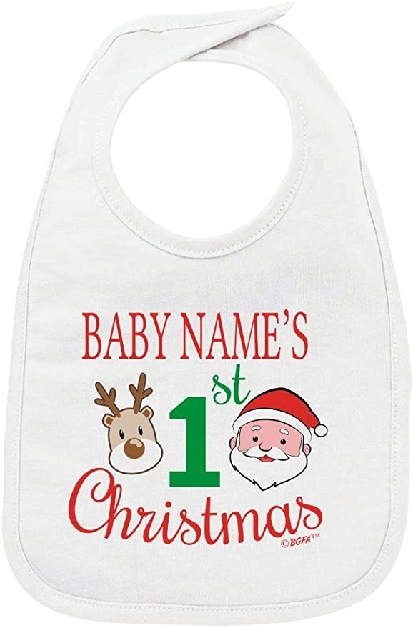 Perosnalised Christmas Bibs Baby Pull-Over 1st Xmas Bib Christmas Keepsake Gift