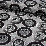 Stoff Baumwolljersey Disney Mickey Mouse retro grau meliert