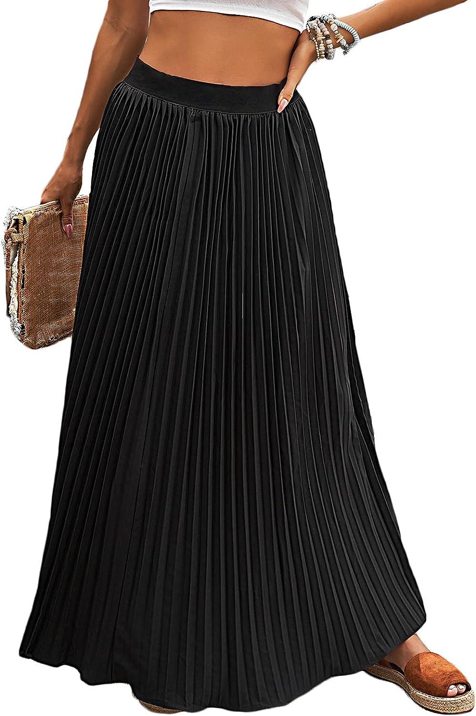 Lrady Women's High Waist Flared Skirt Pleated A-Line Swing Maxi Skirts