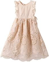 Bow Dream Off White Peach Vintage Lace Sleeveless Flower Girl's Dress