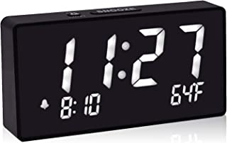 Alarm Clocks for Bedrooms, 5.5 Inch White Digit Display with Adjustable Brightness Dimmer, Temperature Display, 12/24Hr, Snooze, Adjustable Alarm Volume, Sleep Timer.