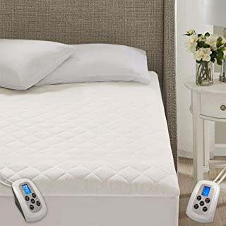 MARQUESS Quilted Heated Mattress Pad Dual Controller,10 Heating Levels Fast Heating(White, King)