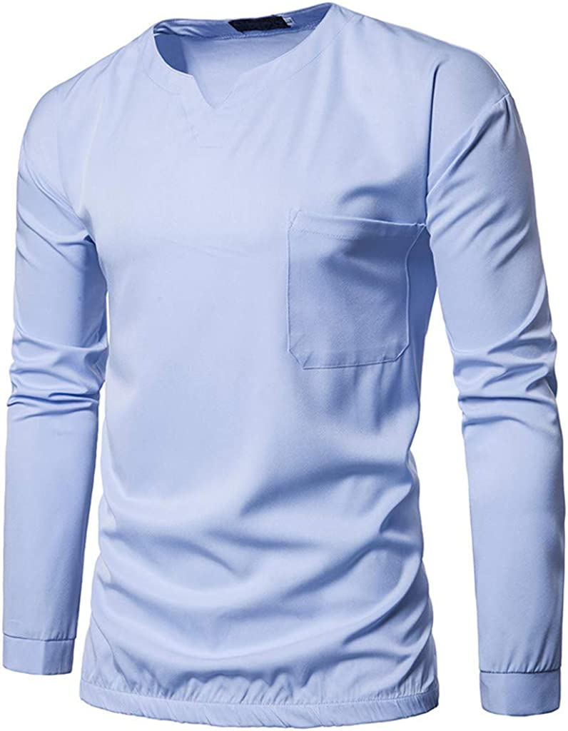 Gergeos Mens Long-Sleeve Shirts Slim Fit V-Neck Casual Button T-Shirts Pullover Sweatshirt Autumn