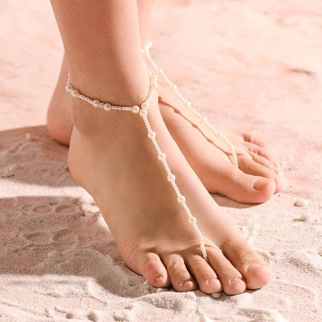 Brinote 2PCS Pearl Barefoot Sandals Overseas parallel import Limited time trial price regular item Chain Anklet Toe Beach Foot