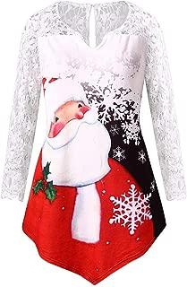 GIFC Fashion Women Merry Christmas Lace Panel Santa Claus Print Ladies T-Shirts Tops Blouses