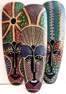 Estilo aborigen máscara pintada con puntos, pintado a mano madera 50 cm Altura colgar en