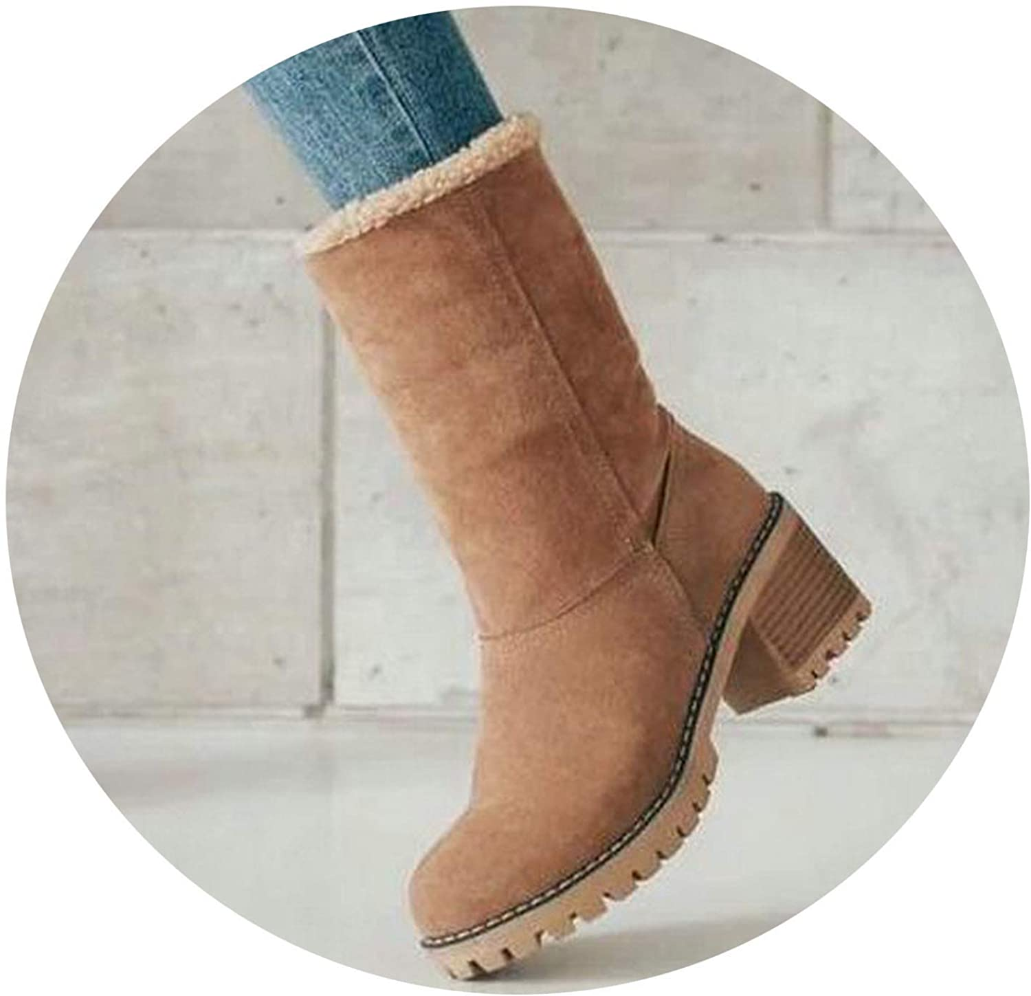 colorful Dream- Winter Women's Boots 2019 Women Square Heel Snow Ankle Boots Ladies Fur Casual shoes Woman shoes