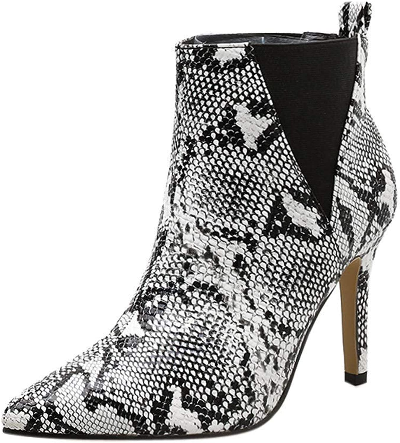 Serpentine Leather Stilettos Ankle Boots Women Sexy Pointed Toe shoes