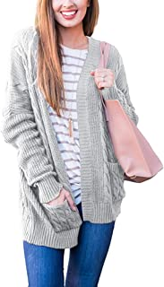 Tongmingyun Womens Plus Size Cable Knit Cardigan Sweater Open Front Chunky Casual Fall Oversized Coat with Pocket