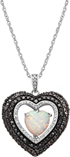 """Sterling Silver 8mm Heart Created Opal with 1/5 cttw Black and White Diamond Heart Pendant Necklace, 18"""" Rope Chain"""