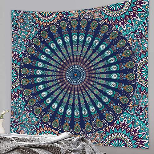 Tapeçaria de mandala decoração de casa, cena de ilusão, tapeçaria de mandala, hippie, boêmia, decorativa, tapete de ioga, tapete de piquenique, 150 x 132 cm