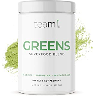 Teami Green Superfood Powder - 32 Servings of Super Greens Powder - 16 Vegan Super Green Non-GMO Mixed Veggie Ingredients,...