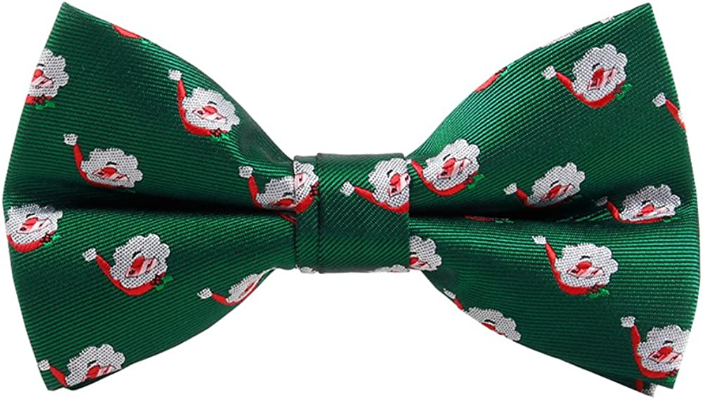 Men's Christmas Bow Ties Snowman and Snowflakes Pattern Pre-tied BowTie