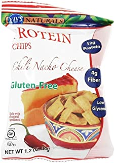 Kay's Naturals Protein Chips, Chili Nacho Cheese, Gluten-Free, Low Fat, Diabetes Friendly, All Natural Flavorings, 1.2 Oun...