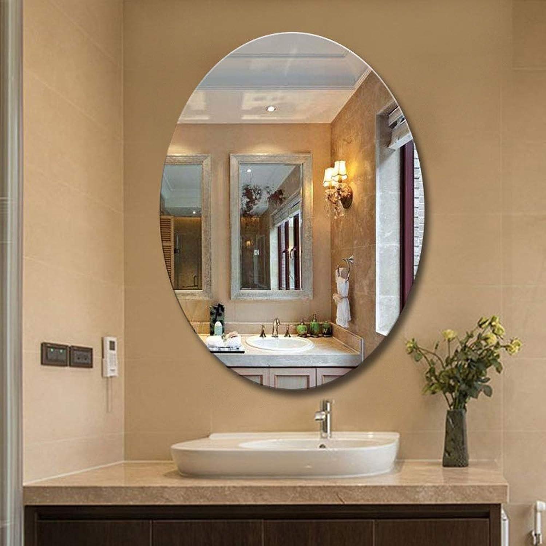 HELIn A Grade Round Frameless Beveled Bathroom Mirrors (Size   40cm60cm)