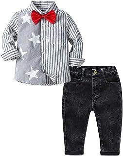 Fairy Baby Boys Outfit Set 3pcs Clothes Set Splice Formal Bowtie Tops Tee Shirt+Pant Set