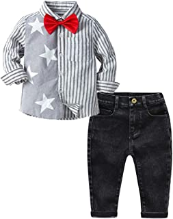 Fairy Baby Boys Outfit Set 3pcs Clothes Set Splice Formal Bowtie Tops Tee Shirt+Pant Set